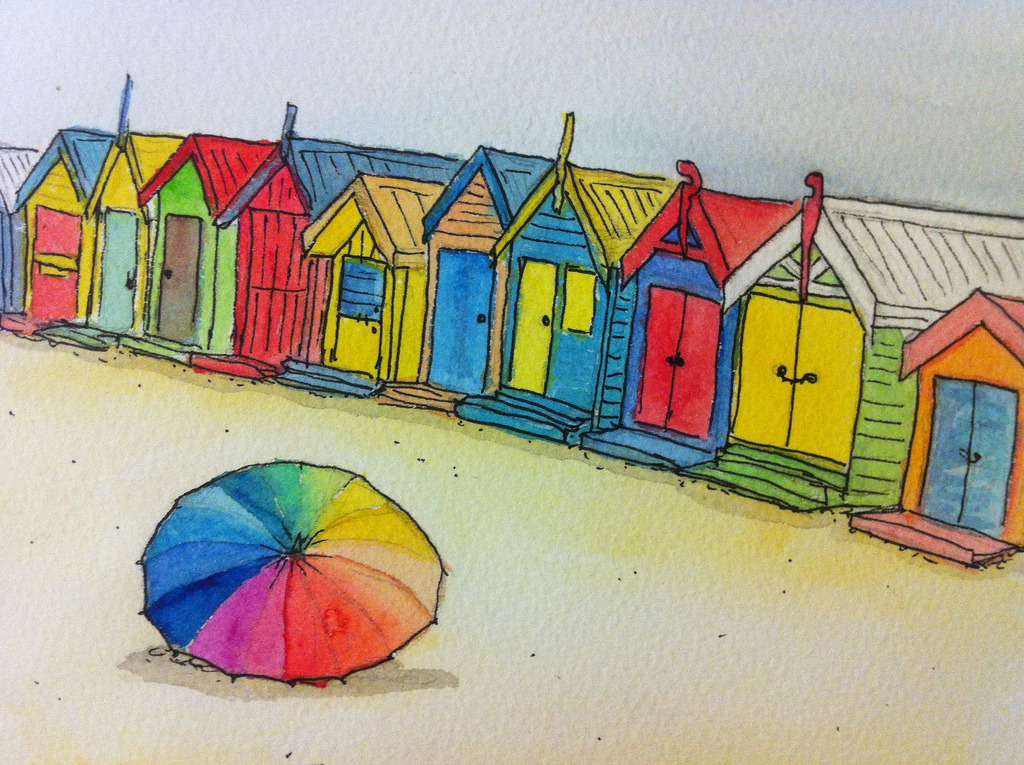 beach huts watercolour (by Jellibat) been going back through my old beach photos, and decided to try sketching some. feel i need to get back to the seaside, some warmer weather might be nice too :]