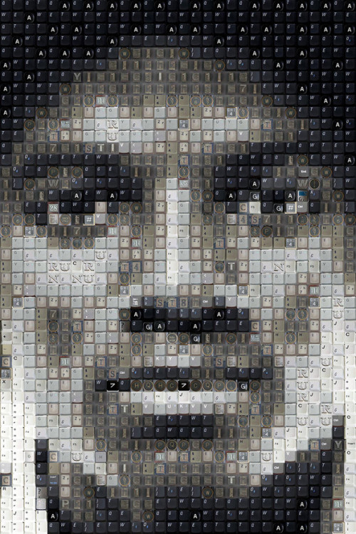 Celebrity Portraits Made of Keyboard Keys