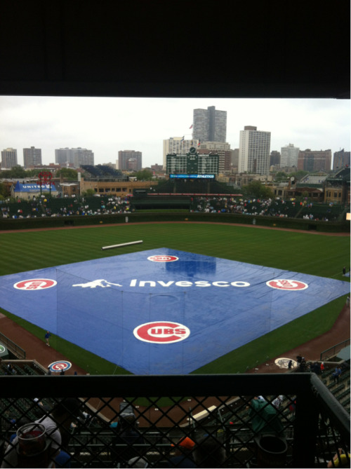 My first visit to Wrigley Field is a wet one.