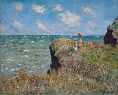 shedlightsshedlight:  Claude Monet, Clifftop Walk at Pourville, 1882