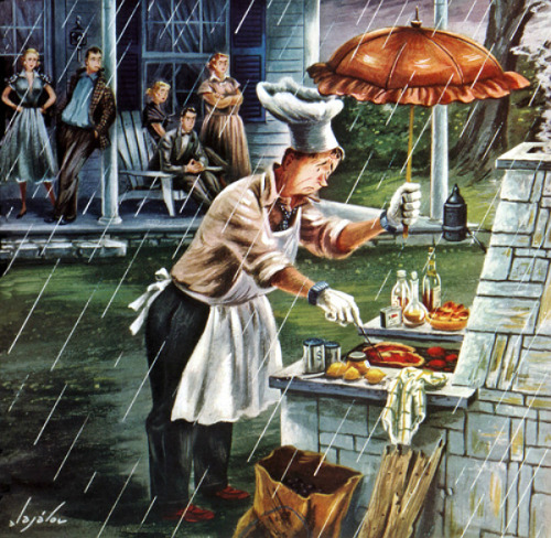 rogerwilkerson:  Rainy Day Barbecue, art by Constantin Alajalov.  Detail from Saturday Evening Post cover July 28, 1951.