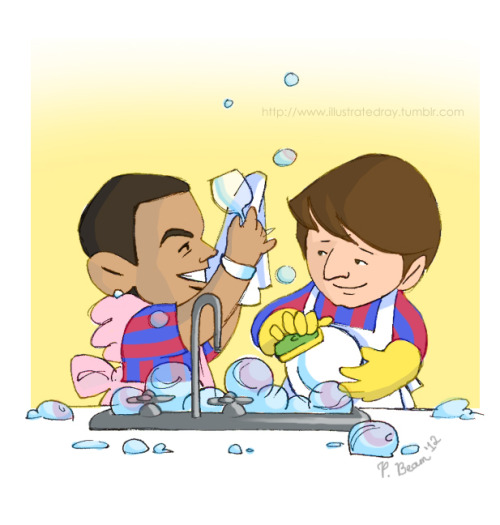 """They're like a happily married couple, Messi and Dani Alves. Messi washes, Alves dries. Fabulous together.""3 Dec. '11"