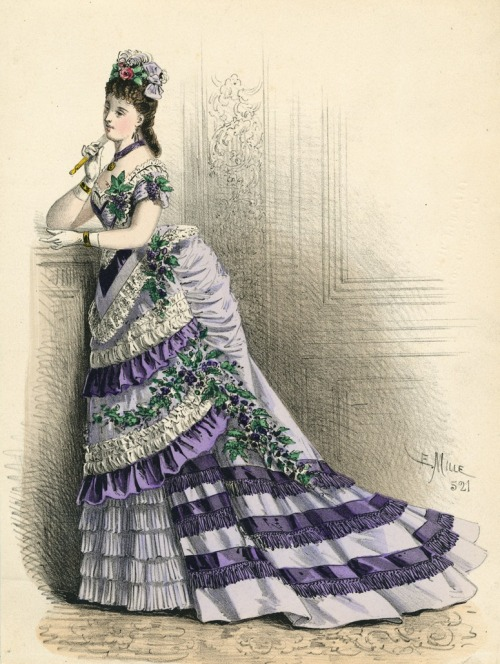 oldrags:  March ballgown, 1875 France, L'Élégance Parisienne
