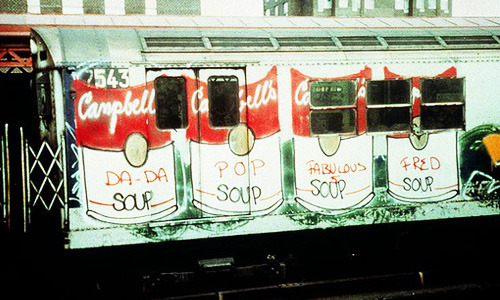Love. blackcontemporaryart:  Soup Train by Fab 5 Freddy, photograph by Charlie Ahearn, 1981