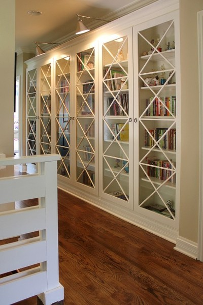 built in book case, love the doors