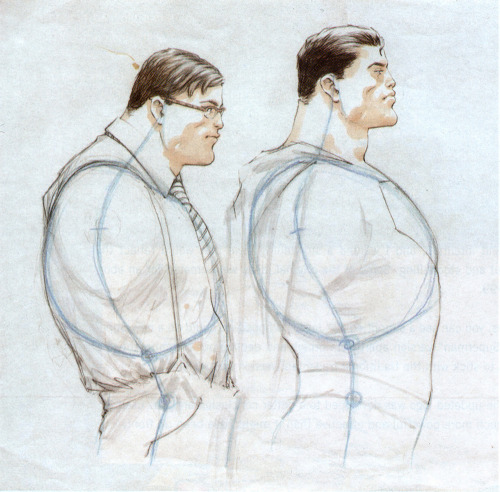 A sketch from Grant Morrison and Frank Quitely's All-Star Superman shows just how important posture is when it comes to concealing your super secret identity ;)