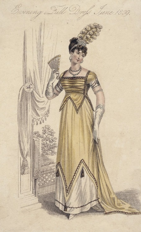 oldrags:  June evening full dress, 1809 England, La Belle Assemblée
