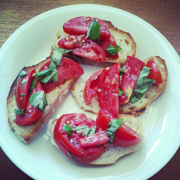 veganfeast:  Summer + tomatoes = Lunch by Food Librarian on Flickr. Yes!