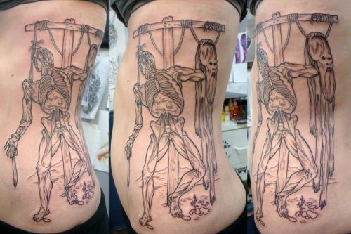 (in process, shading to come soon!) I have one Vesalius tattoo already, this one is a mash-up of two original pieces of art from De Humani Corporis Fabrica By Craig Secrist at Ironclad Tattoo in Salt Lake City on me, genocidetogo