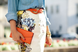 floral + chambray — perfect combo via wendyslookbook