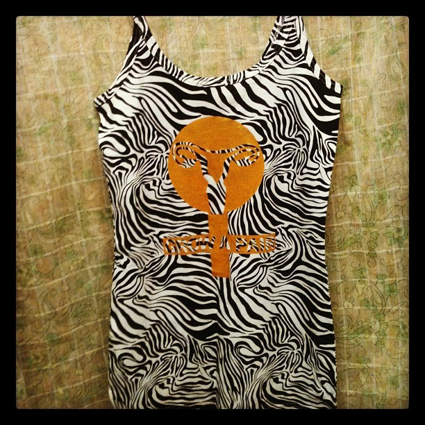 "Zebra tank top with gold glitter ""Grow a Pair"" female sign (Taken with Instagram). Check it out on my Etsy and follow theaveragedream on Tumblr!"