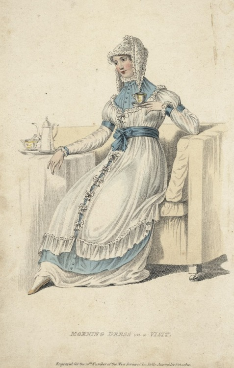 "September ""morning dress on a visit"", 1810 England, La Belle Assemblée I'm assuming that this was meant to be worn in the morning when you're staying at someone else's house."