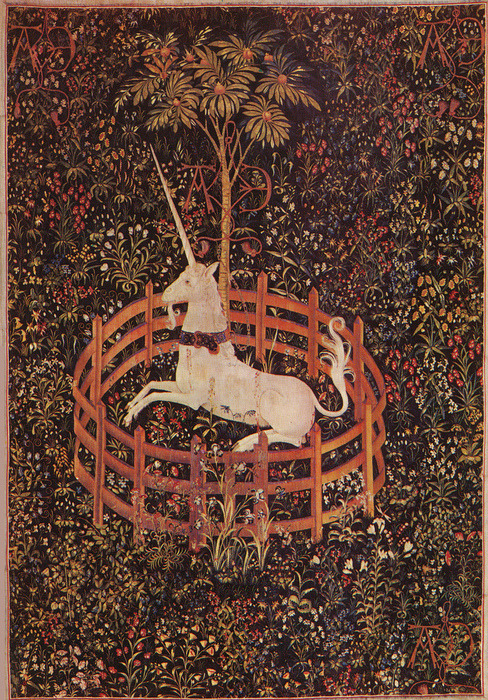 The Unicorn in Captivity, ca. 1495–1505 South Netherlandish Wool warp, wool, silk, silver, and gilt wefts