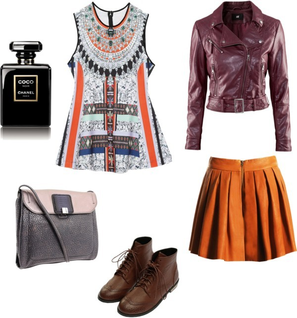 Untitled #124 by jasperstate featuring a biker jacketClover Canyon peplum shirt, $300 / H&M biker jacket, $48 / Alice + Olivia long skirt / Botkier  handbag