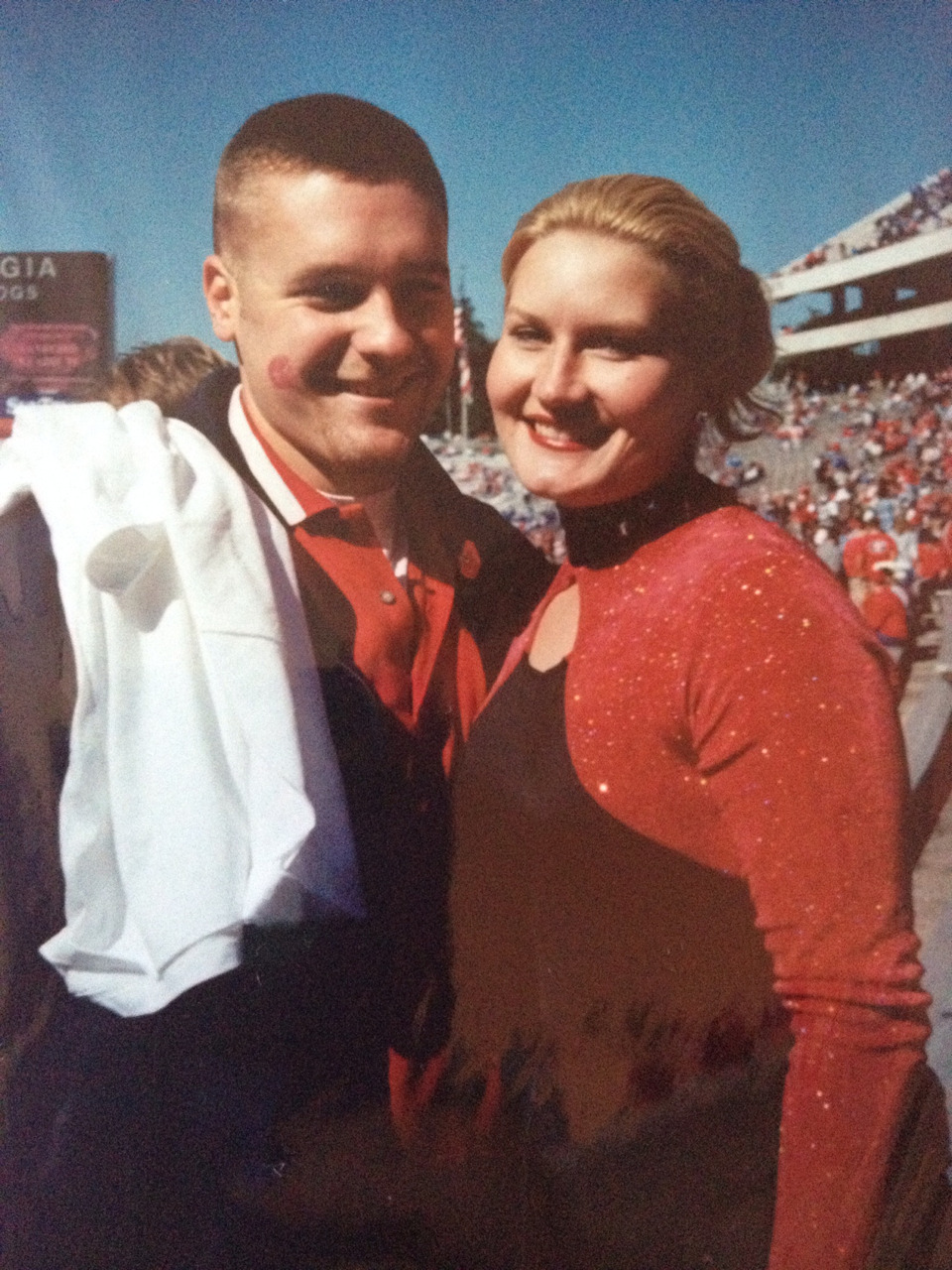 Throwback Thursday: My wife (girlfriend at the the time) and I in Athens for a UGA football game. She was captain of the color guard and I have nothing but found memories of visiting her during football season.