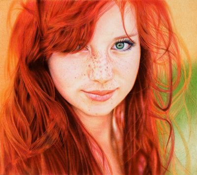capitaldeath:  Redhead Girl, - Ballpoint Pen by =VianaArts is an amazing portrait that was drawn, believe it or not, entirely with only 6 different colored ball point pens plus black. This artist has truly mastered the art of using ballpoint pens as shown in this piece and any other in their gallery. Q: How many colors do you have and what pens are these?A: I have 8 colored Bic ballpoint pens, for this I used 6 of them plus black. They are just common everyday ballpoint pens.