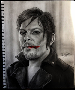 Norman Reedus Judas - Red Redemption This is the second drawing in my Study In Red series, the first being the Sherlock Reichenback Fall picture (See it on my blog, and thanks to everyone for all the likes and reblogs!).  Just a little bit of red in this one (the lipstick smear from the video).  Mostly the series will be characters from different shows/movies/videos/etc, though I may throw in a couple of different types of subjects.  I tagged Daryl Dixon as well, because I figured fans of him would appreciate this :) I think I have decided on what the 3rd will be, but as always, I love suggestions and opinions!