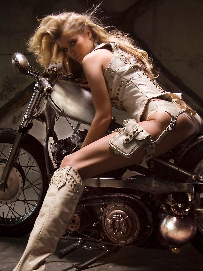 Hot biker chick boots