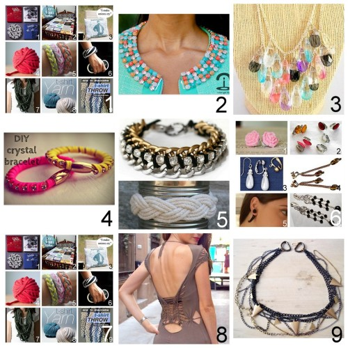 truebluemeandyou:  Roundup Nine DIY Jewelry, Accessories and Fashion Tutorials PART FIVE. Roundup of this past week. August 19th - August 25th, 2012. *For past roundups go here: trebluemeandyou.tumblr.com/tagged/roundup Roundup of Tee Shirt Tutorials that are NOT restyles here.  DIY Nail Polish Painted Rhinestone Collar Tutorial from Crimenes de la Moda here. DIY Painted Crystal Neclace from The Silly Pearl here. DIY Parachute Cord Rhinestone wrapped Leather Bracelet with Magnetic Clasp from Passions for Fashion here. DIY Two Very Different Bracelet Tutorials here. Top Photo: I Spy DIY's Chain and Rhinestone Bracelet, Bottom Photo: Etsy's Original Fisherman's Friendship Bracelet. Roundup DIY Clip-On Earrings Tutorials here. Roundup of Recycled Tee Shirt Ideas that are NOT restyles here. DIY Cut out and Woven Dress Tutorial from Dare to DIY here.  DIY Urban Outfitters Inspired Triangle Chain Necklace and Earrings Tutorial from She Sells Sea Shells here.