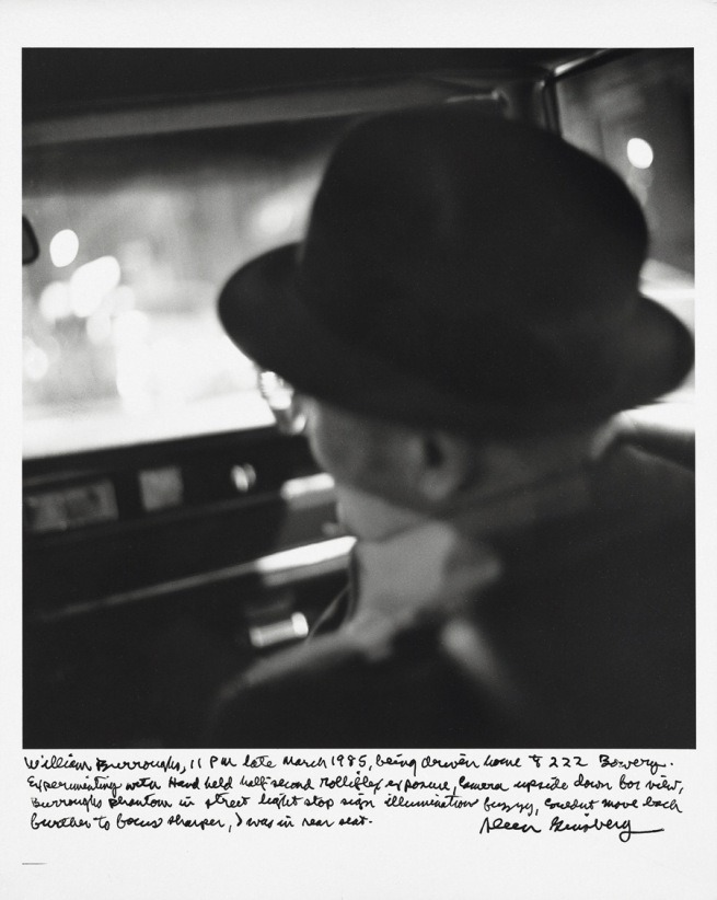 "zombiesenelghetto:  ""William Burroughs, being driven home to 222 Bowery, 11 pm late March 1985"", photo by Allen Ginsberg via Allen Ginsberg's Beat Family Album"