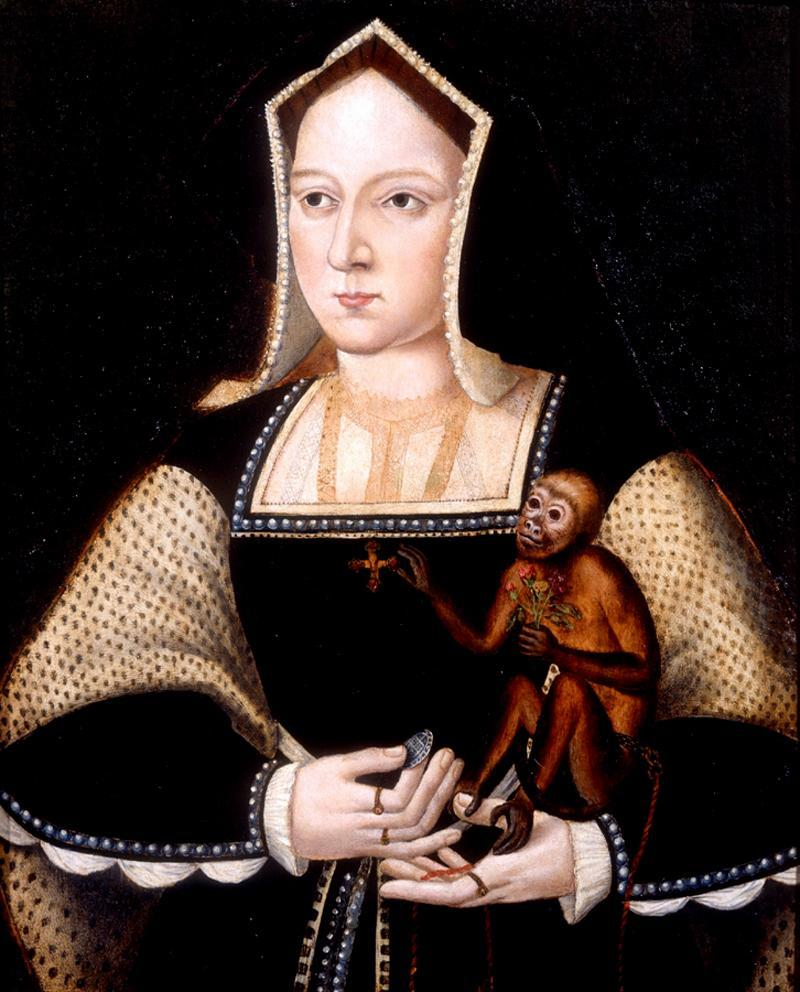Miniature portrait of Catherine of Aragon (first wife of Henry VIII) with her pet monkey. 1525.