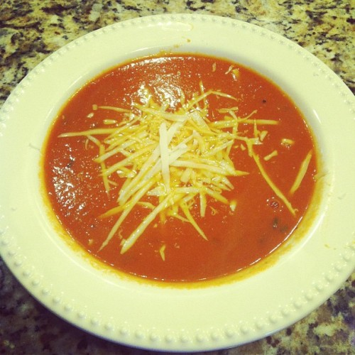 Homemade tomato basil soup…topped with fresh parm of course. (Taken with Instagram)