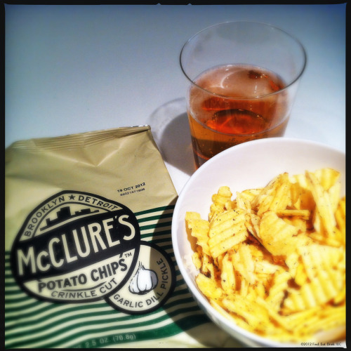 First time trying out @McClurespickles garlic dill pickle chips. Nomnomnom.