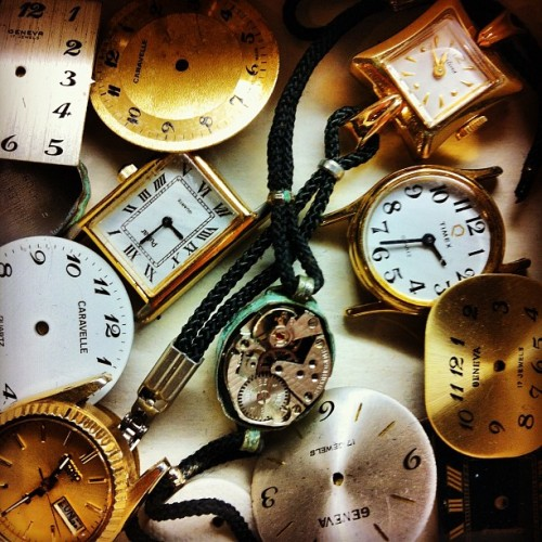 I bet you guys didn't know I collect clocks and their parts. (Taken with Instagram)