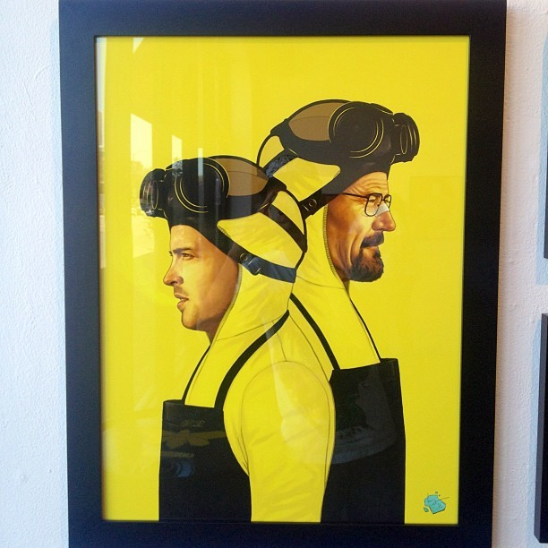 Last day of #BreakingBad art show at @galleries1988. This print by @sirmitchell is one of my faves. (Taken with Instagram)