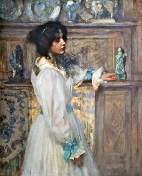 colourthysoul:  James Jebusa Shannon - Reverie (1898)