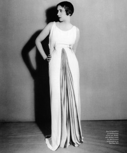 Dose of vintage: Elsa Schiaparelli in gown of her own design, photographed by Man Ray for Harper's Bazaar 1934.