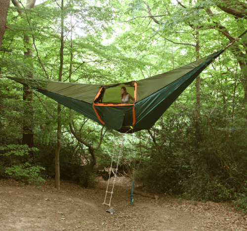 Suspended Camping Tent Tension force helps keep this tent suspended well above the floor, ensuring you stay away from all of the nuisances on the ground floorThe tent is simple to assemble, and is constructed with fire retardant, UV and water resistant polyester fabric to help keep you safe from natural elements.