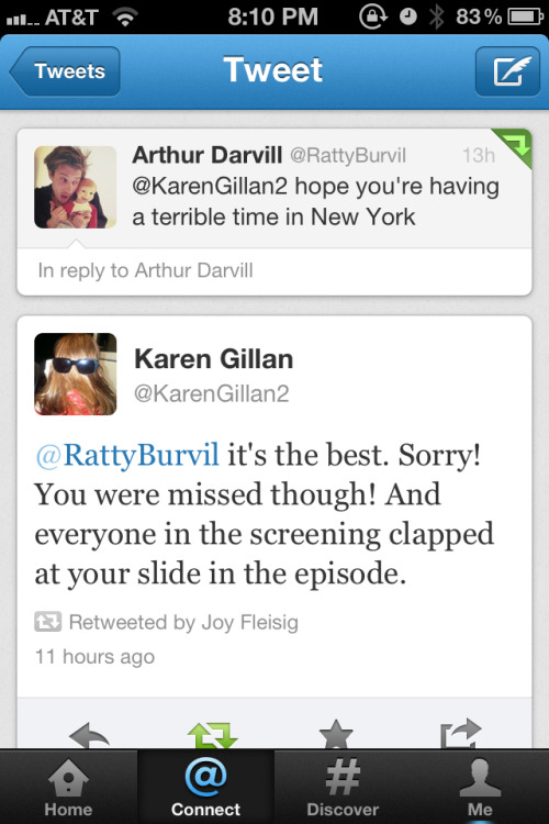 doctorwho:  Karen and Arthur tweeting
