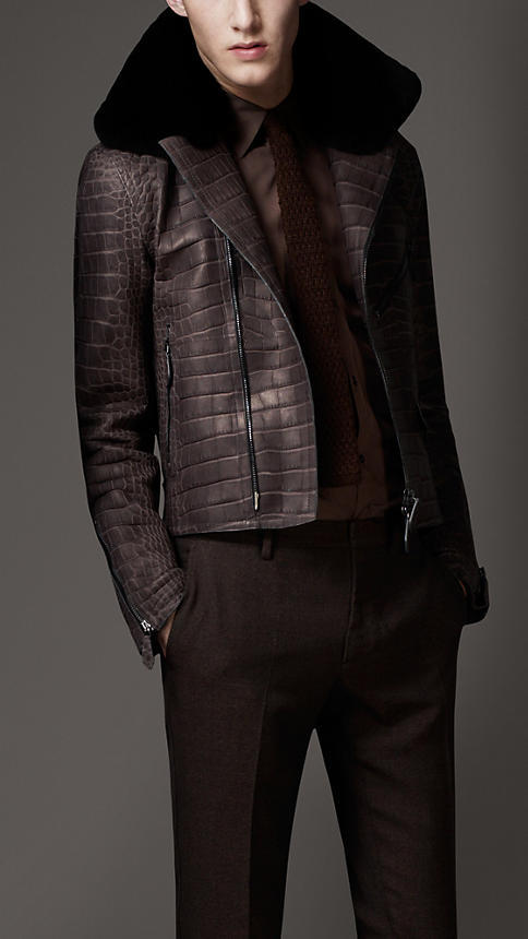 Burberry. Fur Collar Crocodile Leather Blouson.