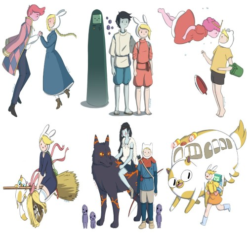 getupandscream:  Studio Ghibli films with Adventure Time characters.