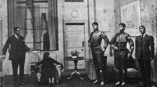 A still from R.U.R. (Rossum's Universal Robots), a play by Karel Čapek. The title is the origin of the term 'Robot'.