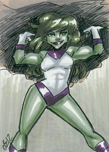 She Hulk! Sketchcard, 2.5x3.5 inches, ink and marker.