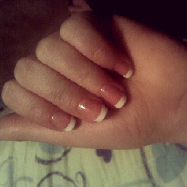 Did my nails for tomorrow! #frenchmanicure #white #tips #firstdayofschool #excited #nervous #scared #happy #looking #forward #to #the #next #year #weeeh #whattodo #Goodnight #BrazoswoodHS  (Taken with Instagram at Richwood Texas)