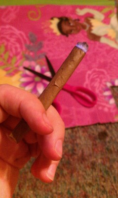 sunshinefourtwenty:  Smokin this blunt while I make my little sister her princess blanket. Chillin.