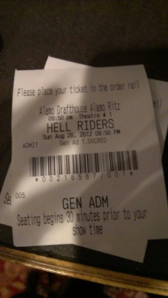 Seated for HELL RIDERS. Video Hate Squad. Drafthouse.