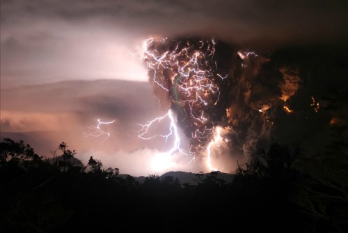 Lightning created by a volcanic eruption.