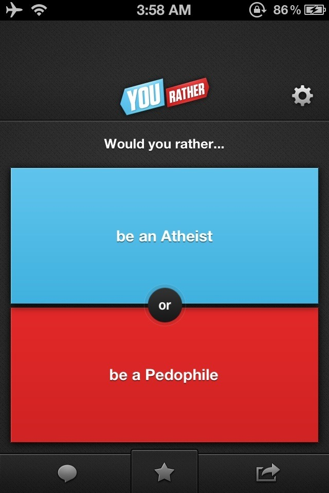 … Such a hard decision! But seriously, are these options user-generated?Because I wanna cry.  How the fuck do you compare the two?