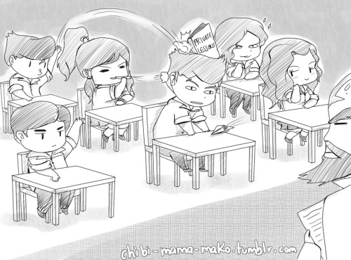 """Excuse me teacher but…""Tenzin: Mako Silent! Who did the homework!? Yes, Iroh?  and… I will back to the school tomorrow… NOOOOOOOOOOOO ;__________;"