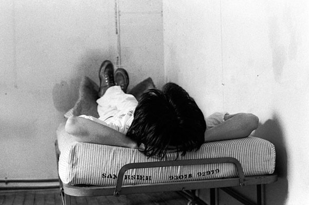 "alecshao:  Tehching ""Sam"" Hsieh - One Year Performance (1978-79) ""In this performance, which lasted from September 29, 1978 through September 30, 1979, the artist locked himself in a 11′6″ × 9′ × 8' wooden cage, furnished only with a wash basin, lights, a pail, and a single bed. During the year, he was not allowed to talk, to read, to write, or to listen to radio and TV. A lawyer, Robert Projansky, notarized the entire process and made sure the artist never left the cage during that one year. A friend came daily to deliver food, remove the artist's waste, and take a single photograph to document the project. In addition, this performance was open to be viewed once or twice a month from 11am to 5pm."""