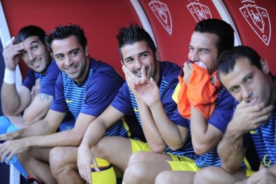 football-addict:  Happy faces on the bench davidvilla :$