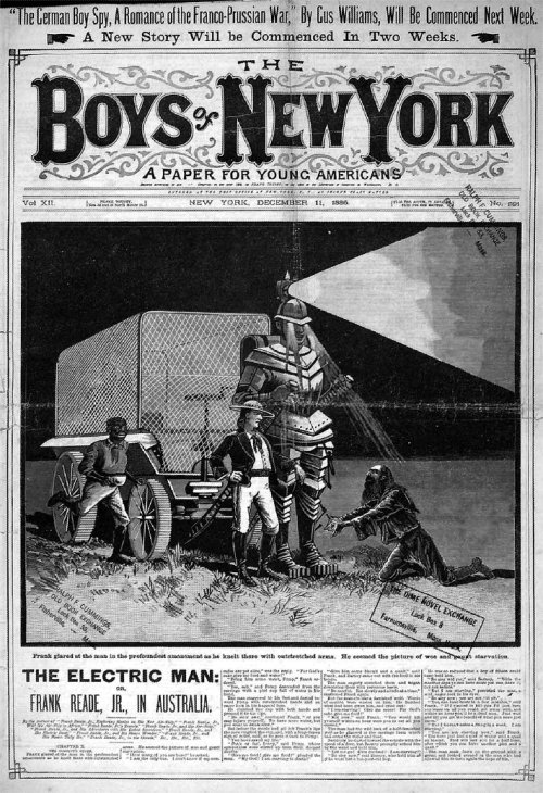 obsidian-sphere:  The Boys of New York : A Paper for Young Americans. December 11, 1885 The Electric Man or Frank Reade, Jr., in Australia. See, its not all about steam damn it!