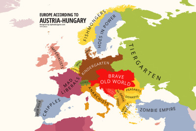 Europe according to the Austro-Hungarian empire, a Mapping Stereotypes bonus map for my upcoming book.