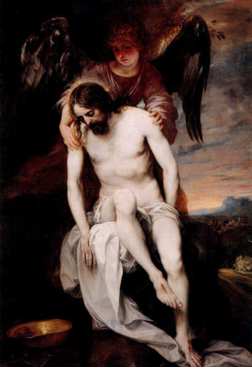 oriax:  unclegrimace:   The Dead Christ Supported by an Angel ARTIST: Alonso Cano   I'm re-claiming this too.I'm just gonna reclaim all of unclegrimace.