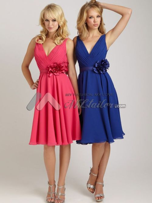 mltailor:  Pleating designs knee length bridesmaid dress