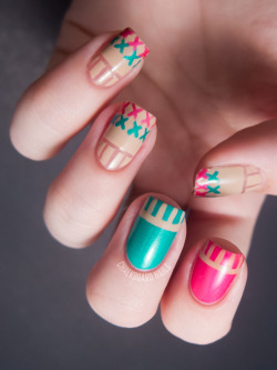 chalkboardnails:  Cross Stitch Nails China Glaze - Turned Up TurquoiseChina Glaze - Beach Cruise-r (I think?)OPI - Don't Pretzel My Buttons
